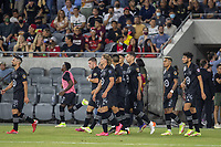 LOS ANGELES, CA - AUGUST 25: The MLS All Stars team during a game between Liga MX All Stars and MLS All Stars at Banc of California Stadium on August 25, 2021 in Los Angeles, California.