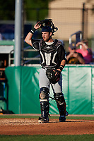 West Virginia Black Bears catcher Kyle Wilkie (10) during a NY-Penn League game against the Batavia Muckdogs on June 27, 2019 at Dwyer Stadium in Batavia, New York.  West Virginia defeated Batavia 6-5 in ten innings.  (Mike Janes/Four Seam Images)