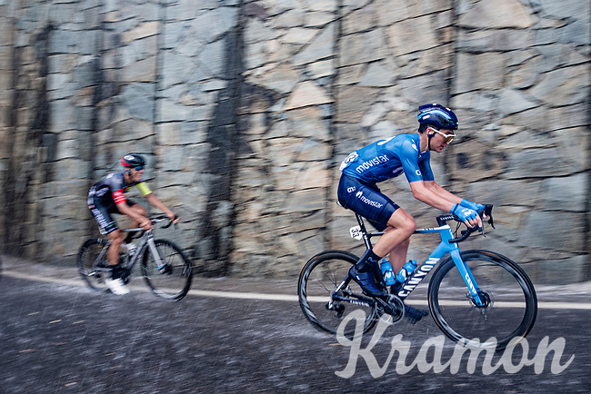 Johan Jacobs (SUI/Movistar) racing in torrential rains up Il Piccolo Stelvio at <br /> Grande Trittico Lombardo 2020 (1.Pro/ITA)<br /> 1 day race from Legnano to Varese (200km)