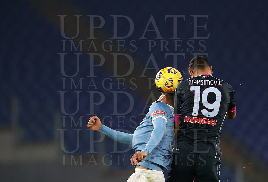 Calcio, Serie A: S.S.Lazio - Napoli, Olympic stadium, Rome, December 20, 2020. <br /> Lazio's Luis Felipe (l) in action with Napoli's captain Nikola Maksimovic (r) during the Italian Serie A football match between Lazio and Napoli at the Olympic stadium, on December 20, 2020.<br /> UPDATE IMAGES PRESS/Isabella Bonotto