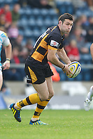 Stephen Jones of London Wasps passes during the Aviva Premiership match between London Wasps and Worcester Warriors at Adams Park on Sunday 7th October 2012 (Photo by Rob Munro)
