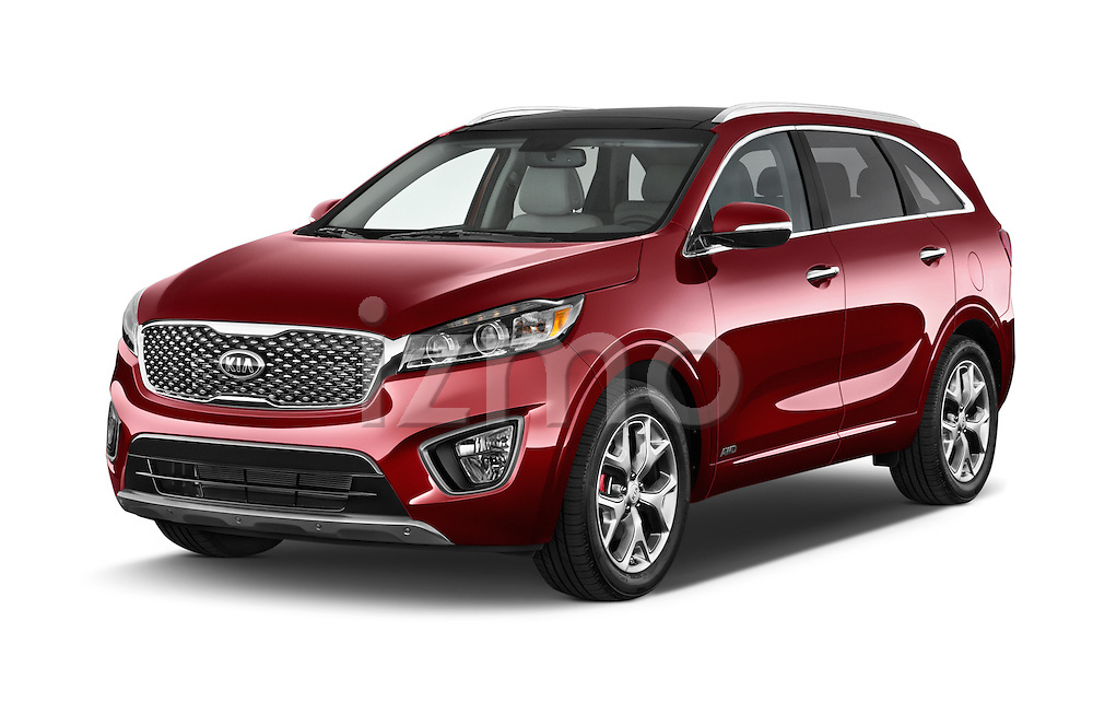 2017 KIA Sorento SX V6 AT 4WD 5 Door SUV Angular Front stock photos of front three quarter view