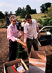 Country House Auction at Newnham Hall Northamptonshire 1994. Chritsies auction 1990s UK.  Local dealers with two boxes of old books, bought  by dealers sight unseen.
