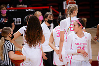 STANFORD, CA - FEBRUARY 05: Tara VanDerveer head coach of the Stanford Cardinal talks to the team during a play review during a game between University of Colorado and Stanford University at Maples Pavilion on February 05, 2021 in Stanford, California.