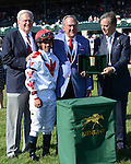 LEXINGTON, KY - APRIL 16: #10 Collected wins the Lexington Stakes at Keeneland on April 16, 2016 in Lexington, Kentucky. (Photo by Jessica Morgan/Eclipse Sportswire/Getty Images)
