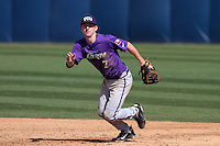 Brett Johnson #7 of the TCU Horned Frogs in the field against the Cal State Fullerton Titans at Goodwin Field on February 26, 2012 in Fullerton,California. Fullerton defeated TCU 11-10.(Larry Goren/Four Seam Images)