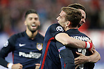 Atletico de Madrid's Yannick Carrasco, Saul Niguez and Antoine Griezmann celebrate goal during Champions League 2015/2016 Quarter-Finals 2nd leg match. April 13,2016. (ALTERPHOTOS/Acero)