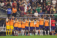 LAS VEGAS, NV - AUGUST 1: The USMNT bench late in the game during a game between Mexico and USMNT at Allegiant Stadium on August 1, 2021 in Las Vegas, Nevada.
