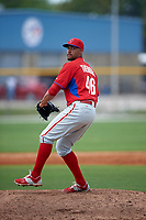 Philadelphia Phillies Jesen Therrien (46) during a minor league Spring Training game against the Toronto Blue Jays on March 26, 2016 at Englebert Complex in Dunedin, Florida.  (Mike Janes/Four Seam Images)