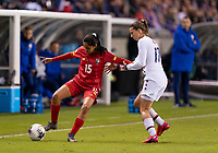 HOUSTON, TX - JANUARY 31: Ana Rodriguez #15 of Panama is defended by Tobin Heath #17 of the United States during a game between Panama and USWNT at BBVA Stadium on January 31, 2020 in Houston, Texas.