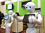 July 20, 2016, Tokyo, Japan - Softbank's humanoid robot Peppers are dsiplayed at a press preview of the Pepper World exhibition in Tokyo on Wednesday, July 20, 2016. Pepper's latest applications and accessories will be exhibited at the Pepper World robot exhibition on July 21 and 22.      (Photo by Yoshio Tsunoda/AFLO)