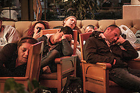 Protesters are seen spread out at the lobby of five stars Divan Hotel in Gazi park used as temporary shelter at night during a masive rally against the turkish government in Istanbul, Turkey.