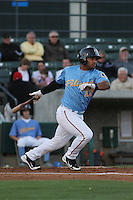 Myrtle Beach Pelicans catcher Tomas Telis #17 at bat during a game against the Frederick Keys at Tickerreturn.com Field at Pelicans Ballpark on April 24, 2012 in Myrtle Beach, South Carolina. Frederick defeated Myrtle Beach by the score of 8-3. (Robert Gurganus/Four Seam Images)