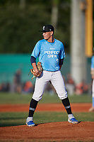 Janiel Hernandez (7) during the WWBA World Championship at Terry Park on October 10, 2020 in Fort Myers, Florida.  Janiel Hernandez, a resident of Aguadilla, Puerto Rico who attends Puerto Rico Baseball Academy.  (Mike Janes/Four Seam Images)