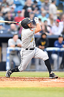 West Virginia Power catcher Manny Pazos (7) swings at a pitch during a game against the Asheville Tourists at McCormick Field on April 18, 2019 in Asheville, North Carolina. The Power defeated the Tourists 12-7. (Tony Farlow/Four Seam Images)