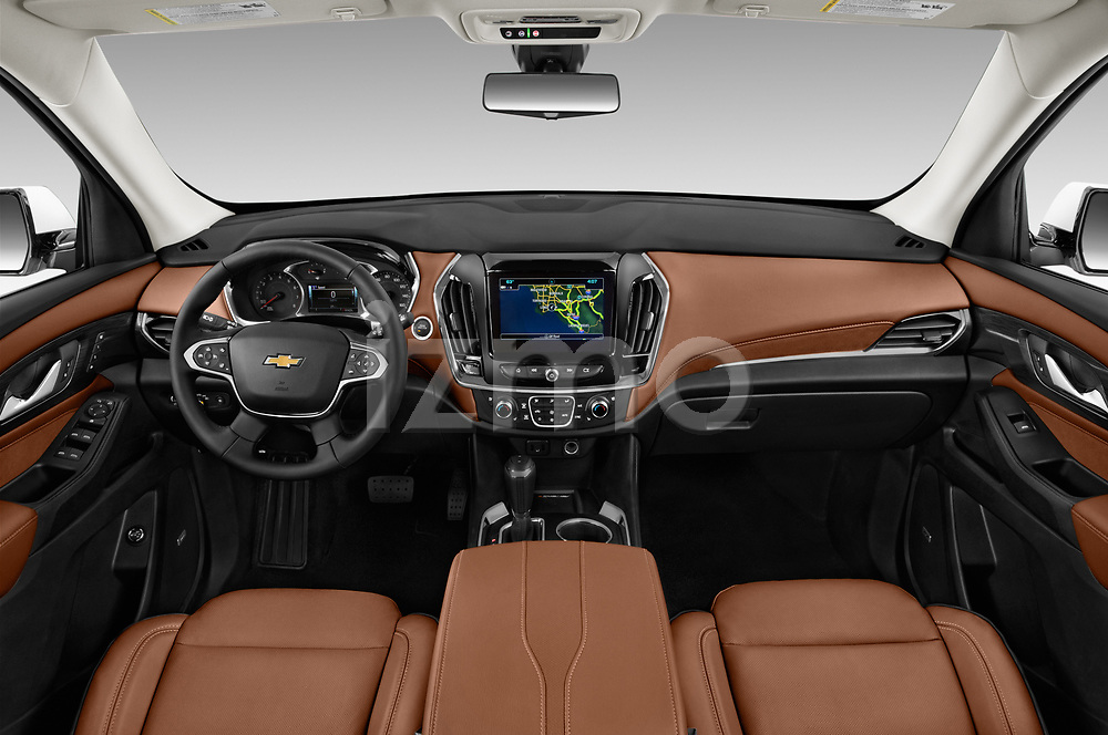 Stock photo of straight dashboard view of a 2018 Chevrolet Traverse High Country 5 Door SUV