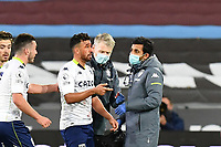 Mahmoud Hassan of Aston Villa receives treatment during West Ham United vs Aston Villa, Premier League Football at The London Stadium on 30th November 2020