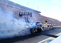 Sep 13, 2013; Charlotte, NC, USA; NHRA top fuel dragster driver Shawn Langdon during qualifying for the Carolina Nationals at zMax Dragway. Mandatory Credit: Mark J. Rebilas-