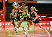 17.09.2016 Jamacia's Adean Thomas in action during the Taini Jamison netball match between the Silver Ferns and Jamaica played at the Energy Events Centre in Rotorua. Mandatory Photo Credit ©Michael Bradley.
