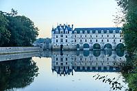 France, Indre-et-Loire (37), Chenonceaux, château (façade est) et jardins de Chenonceau et le Cher