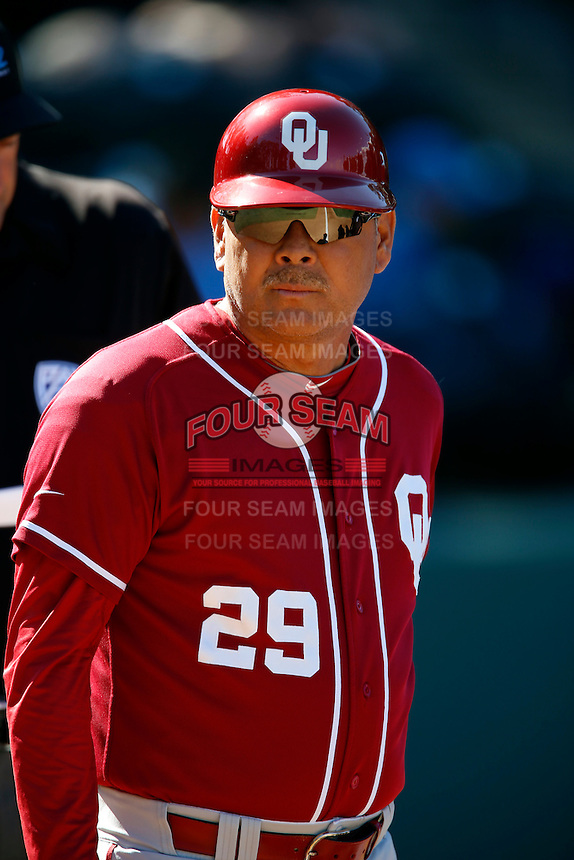 Oklahoma Sooners Head Coach Sunny Golloway #29 during a baseball game against the UCLA Bruins at Jackie Robinson Stadium on March 9, 2013 in Los Angeles, California. (Larry Goren/Four Seam Images)