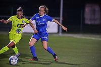 Lyndsey Van Belle (14) of AA Gent battles for the ball with Luna Vanhoudt (43) of KRC Genk pictured during a female soccer game between  Racing Genk Ladies and AA Gent Ladies ,  on the 6 th  matchday of the 2021-2022 season of the Belgian Scooore Womens Super League , friday 8 october 2021  in Genk , Belgium . PHOTO SPORTPIX | JILL DELSAUX