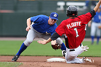 May 2, 2010:  Shortstop Elliot Johnson (29) of the Durham Bulls in the field during a steal attempt by Trevor Plouffe (1) during a game vs. the Rochester Red Wings at Frontier Field in Rochester, NY.  Rochester defeated Durham in extra innings by the score of 7-6.  Photo By Mike Janes/Four Seam Images
