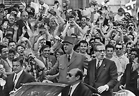 July 1967 FILE -<br /> <br /> Jubilant Montrealers swarm around French President Charles de Gaulle during his visit to the city yesterday. De Gaulle has strained relations with his host country by continually echoing the Free Quebec slogan of French-Canadian separatists. Today he will tour Expo which is celebrating France Day.<br /> <br /> 1967<br /> <br /> PHOTO :  Doug Griffin - Toronto Star Archives - AQP