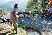 George Bennet (NZL/LottoNL-Jumbo) & Pierre Rolland (FRA/Europcar) cheered up the ridiculously steep bit (+21%) of the final climb<br /> <br /> stage 16: Luarca - Ermita de Alba. Quiros (185km)<br /> 2015 Vuelta à Espagna