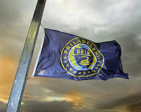 Flag of the Philadelphia Union flies at sunset during an international friendly match between the USAWNT and the PRCWNT at PPL Park, on October 6 2010 in Chester, PA.