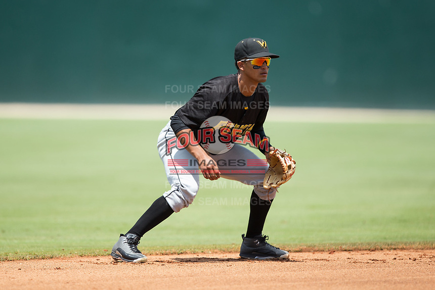 West Virginia Power shortstop Adrian Valerio (14) on defense against the Kannapolis Intimidators at Kannapolis Intimidators Stadium on June 18, 2017 in Kannapolis, North Carolina.  The Intimidators defeated the Power 5-3 to win the South Atlantic League Northern Division first half title.  It is the first trip to the playoffs for the Intimidators since 2009.  (Brian Westerholt/Four Seam Images)