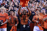 Oct. 15, 2011-Charlottesville, VA.-USA-  Virginia Cavaliers fans storm the field during an ACC football game against the Georgia Tech at Scott Stadium. Virginia won 24-21. (Credit Image: © Andrew Shurtleff