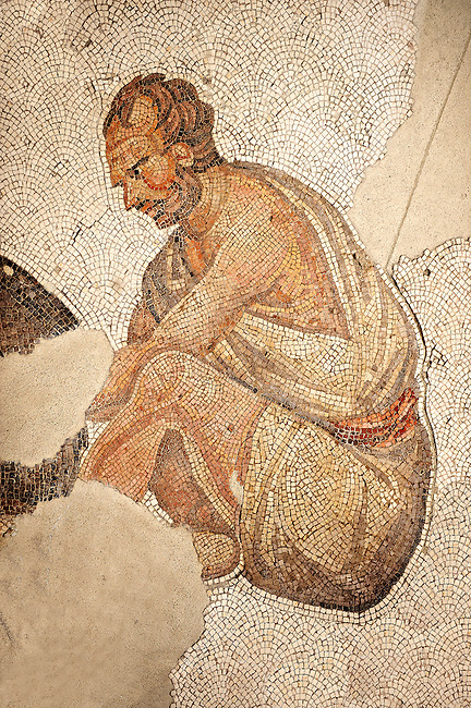 6th century Byzantine Roman mosaics of a man from the peristyle of the Great Palace from the reign of Emperor Justinian I. Istanbul, Turkey.