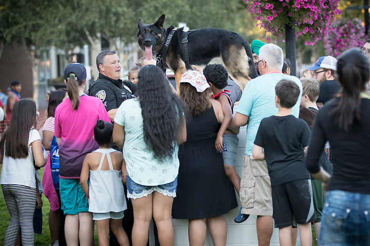 Beaverton City Police Department Officer Brian Gaunt watches his partner, K9 Officer Ike, adore attention during National Night Out at Beaverton City Park.<br /> Photo by Jaime Valdez