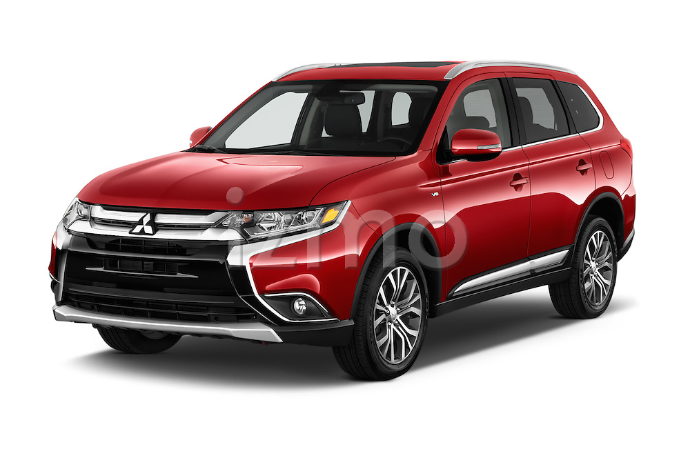 2016 Mitsubishi Outlander GT 5 Door SUV Angular Front stock photos of front three quarter view