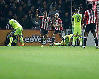 GOAL - Ollie Watkins of Brentford ties the scores during the Sky Bet Championship match between Brentford and Derby County at Griffin Park, London, England on 26 September 2017. Photo by Carlton Myrie / PRiME Media Images.