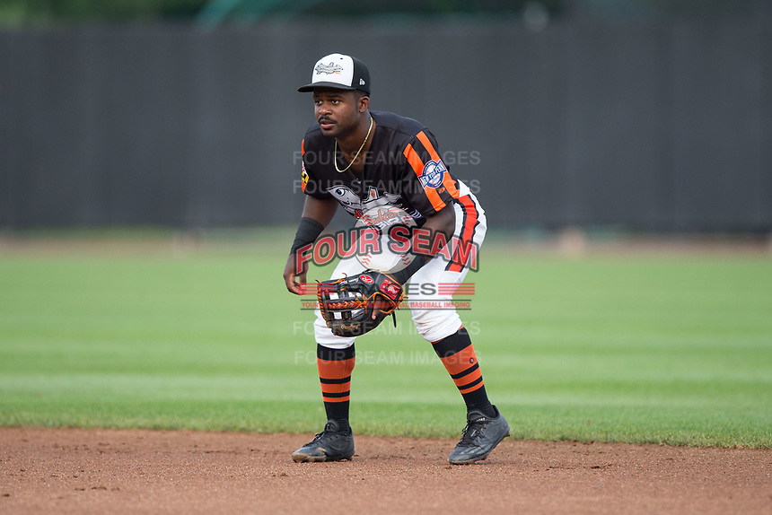 Aberdeen IronBirds second baseman Kirvin Moesquit (9) on defense against the Hudson Valley Renegades at Leidos Field at Ripken Stadium on July 27, 2017 in Aberdeen, Maryland.  The Renegades defeated the IronBirds 2-0 in game one of a double-header.  (Brian Westerholt/Four Seam Images)