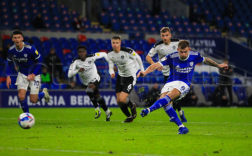 3rd November 2020; Cardiff City Stadium, Cardiff, Glamorgan, Wales; English Football League Championship Football, Cardiff City versus Barnsley; Joe Ralls of Cardiff City scores a penalty to make the score 2-0 in the 45th+1 minute