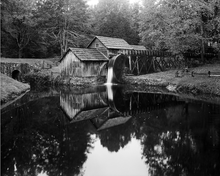 """""""Mabry Mill""""<br /> Blue Ridge Parkway<br /> Floyd County, Virginia<br />  2014<br /> <br /> Built in 1903, the Mabry Mill is one of the most photographed structures on the Blue Ridge Parkway.  It still didn't prevent me from creating my interpretation.  Afterwards, a good breakfast at the nearby restaurant to begin the day would be the icing on cake.<br /> <br /> 4 x 5 Large Format Film"""