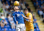 St Johnstone v Livingston….10.08.19      McDiarmid Park     SPFL <br />Michael O'Halloran and Jack McMillan<br />Picture by Graeme Hart. <br />Copyright Perthshire Picture Agency<br />Tel: 01738 623350  Mobile: 07990 594431