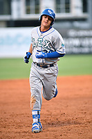 Southern Divisions designated hitter Nick Pratto (30) of the Lexington Legends rounds the bases after hitting a home run during the South Atlantic League All Star Game at First National Bank Field on June 19, 2018 in Greensboro, North Carolina. The game Southern Division defeated the Northern Division 9-5. (Tony Farlow/Four Seam Images)