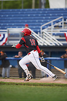 Batavia Muckdogs first baseman Lazaro Alonso (19) at bat during a game against the West Virginia Black Bears on June 25, 2017 at Dwyer Stadium in Batavia, New York.  Batavia defeated West Virginia 4-1 in nine innings of a scheduled seven inning game.  (Mike Janes/Four Seam Images)