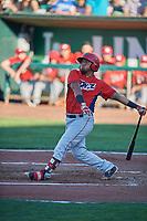 Mario Sanjur (28) of the Orem Owlz bats against the Ogden Raptors at Lindquist Field on June 19, 2018 in Ogden, Utah. The Raptors defeated the Owlz 7-2. (Stephen Smith/Four Seam Images)