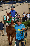 DEL MAR, CA  AUGUST 29: #6 Stilleto Boy ridden by Kent Desormeaux, in the post parade of the Shared Belief Stakes on August 29, 2021 at Del Mar Thoroughbred Club in Del Mar, CA. (Photo by Casey Phillips/Eclipse Sportswire/CSM)