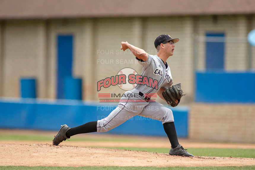 Cal Poly San Luis Obispo Mustangs Michael Clark (33) delivers a pitch to the plate against the UC-Riverside Highlanders at Riverside Sports Complex on May 26, 2018 in Riverside, California. The Cal Poly SLO Mustangs defeated the UC Riverside Highlanders 6-5. (Donn Parris/Four Seam Images)