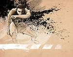 Illustrative image of determined man running in race