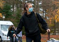 ZEIST, NETHERLANDS - NOVEMBER 20: Kelley O'Hara #5 of the USWNT arrives at training camp on November 20, 2020 in Zeist, Netherlands.