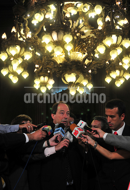 Senator Ernesto Sanz, leader of the non peronist opposition to Cristina Kirchner government, speaks to the press upon the Senate session to decide to make mid term election earlier than scheduled in Buenos Aires, Argentina.