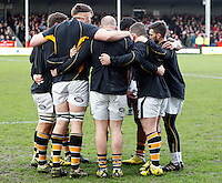 Photo: Richard Lane/Richard Lane Photography. Gloucester Rugby v Wasps. Aviva Premiership. 05/03/2016. Wasps huddle.