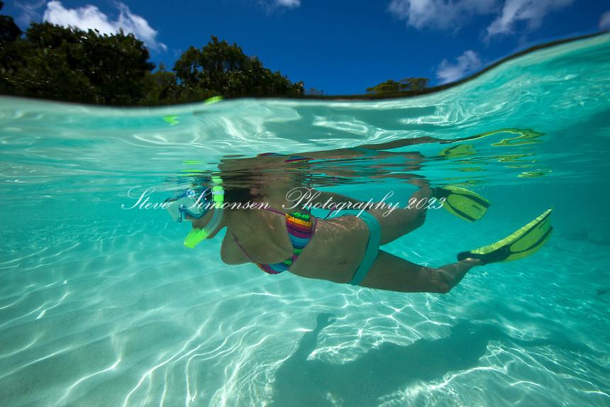 Snorkeler<br /> Hawksnest Beach<br /> Virgin Islands National Park<br /> St. John, U.S. Virgin Islands